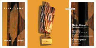 Einladungskarte Skulpturen aus Holz von Martin Steinert