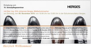 Einladungskarte Schuhpflegeseminar